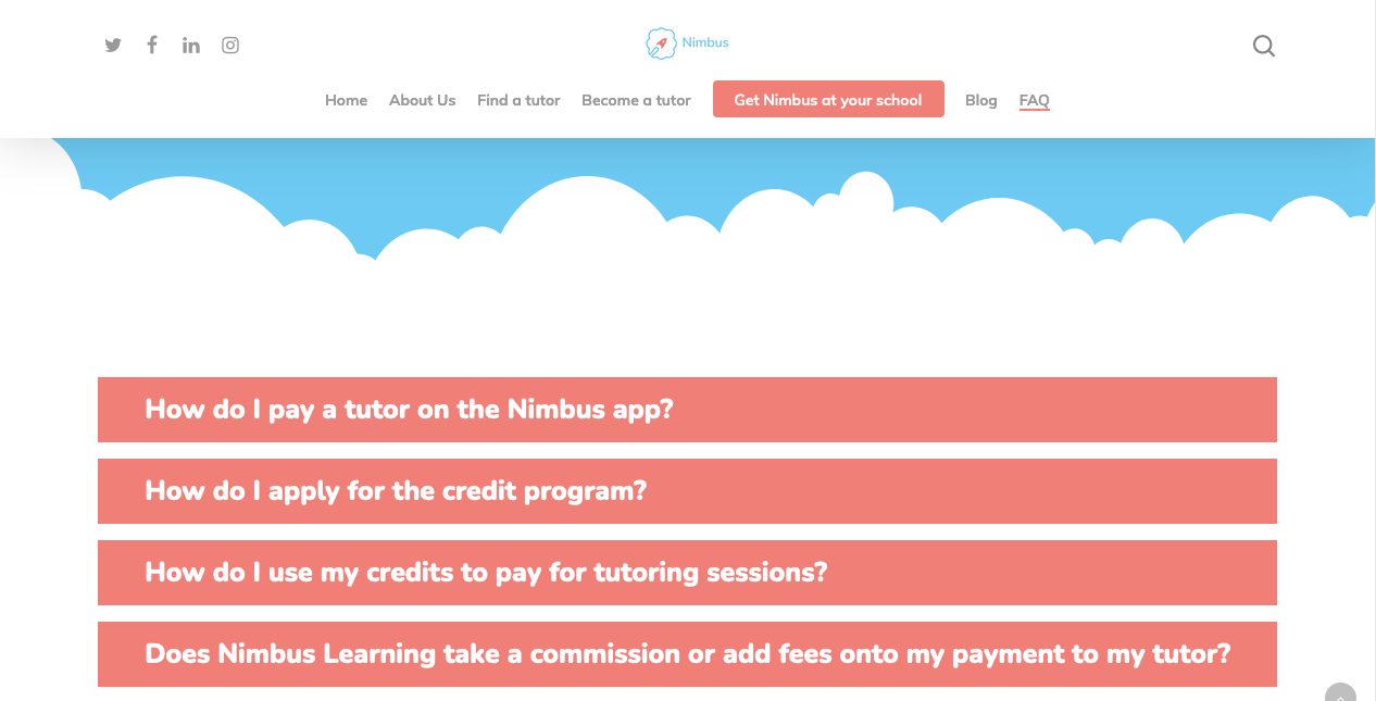"""A screenshot of the Nimbus FAQ page with commonly asked questions visible in whilte text on a pink box. Questions include """"How do I pay a tutor through the Nimbus app?"""" and """"How do I apply for the credit program?"""""""