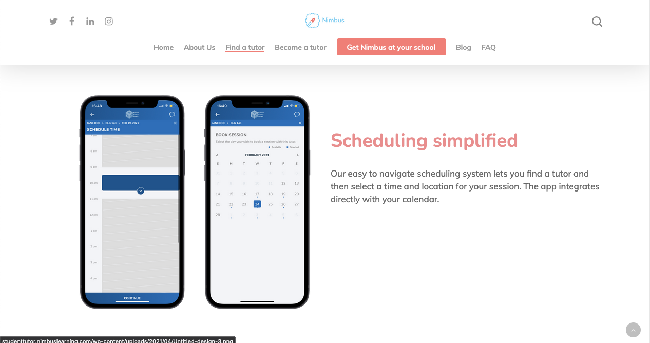 """Screenshot from the """"find a tutor"""" page. The text """"scheduling simplified"""" sites beside an image of a phone open to the Nimbus calander setting of the app."""
