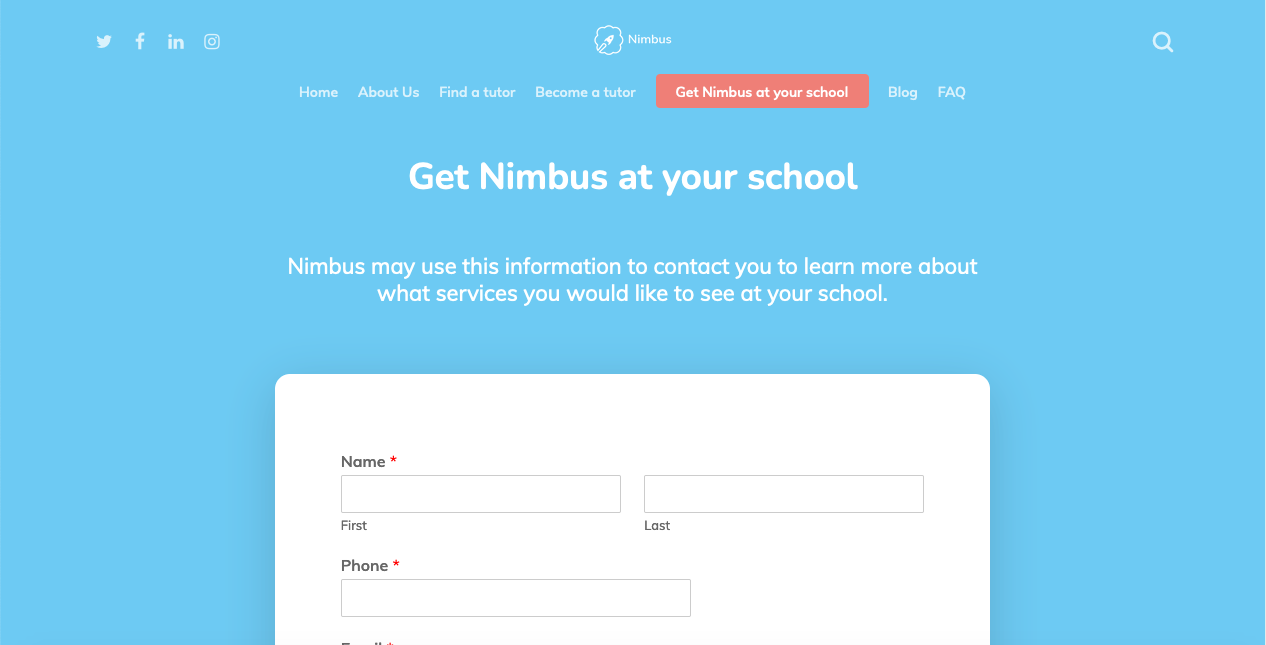 """A screenshot from the """"Get Nimbus at your school"""" page. A white form sits on a blue background, asking for information like Name and what services do you want to see at your school."""