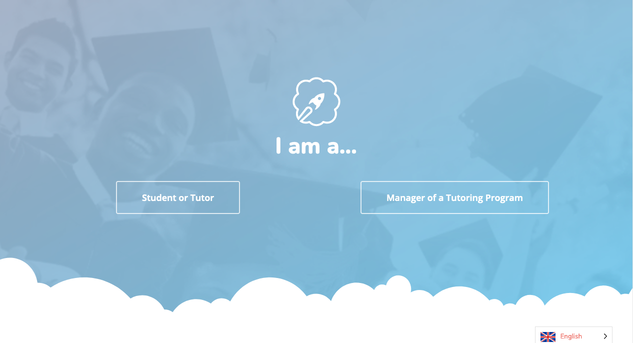 The new Nimbus Learning landing page. White tezt on a blue bacground. The text asks readers to identify if they are a stutdent, tutor, or if they manage a tutoring program.