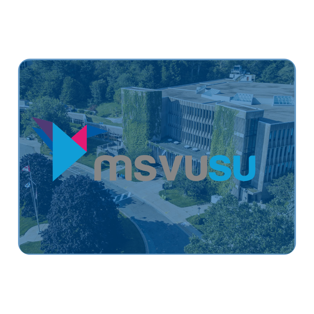 The Mount St Vincent Studne Union logo super imposed over a photo of the MSV campus.