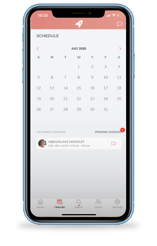 A mobile phone open to the Nimbus app. A calender is showing with a tutor's availability highlighted in pink.