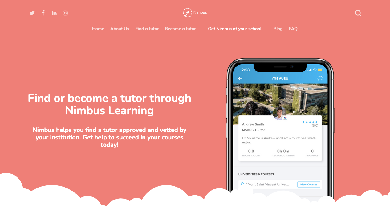 """The new student homepage. White text on a pink background says """"Find or become a tutor through Nimbus Learning."""""""