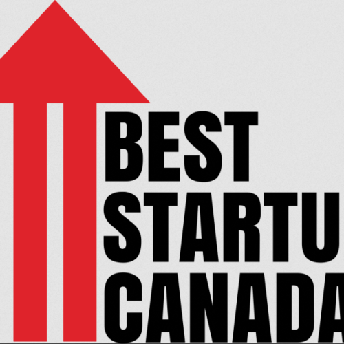"""The logo for Best Startup Canada. A red arrow extends to the top of the image. To the right in big block text reads """"Best Startup Canada"""""""