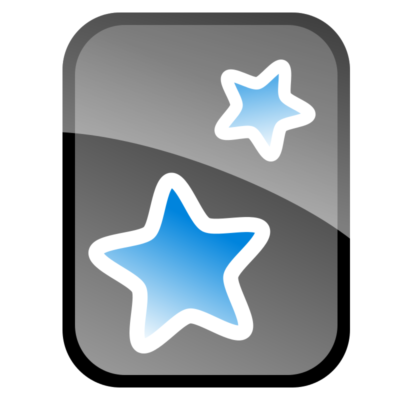 The Anki Logo: A black rectangle with two blue stars in the middle.