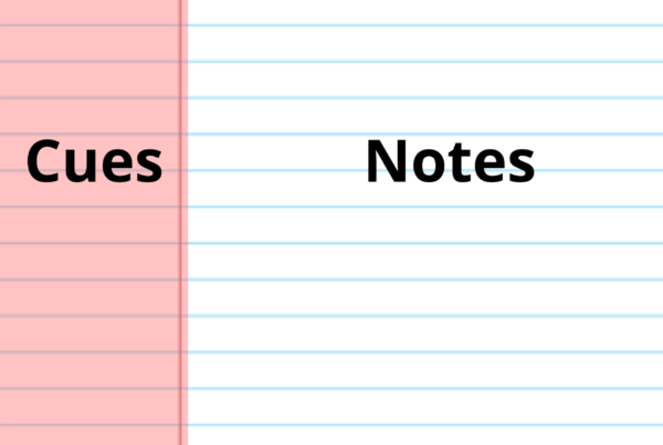 A sheet of paper divided into three sections: the cues section is in the margin, the notes session takes up the main chunk of the page, and a small summary psection at the bottom